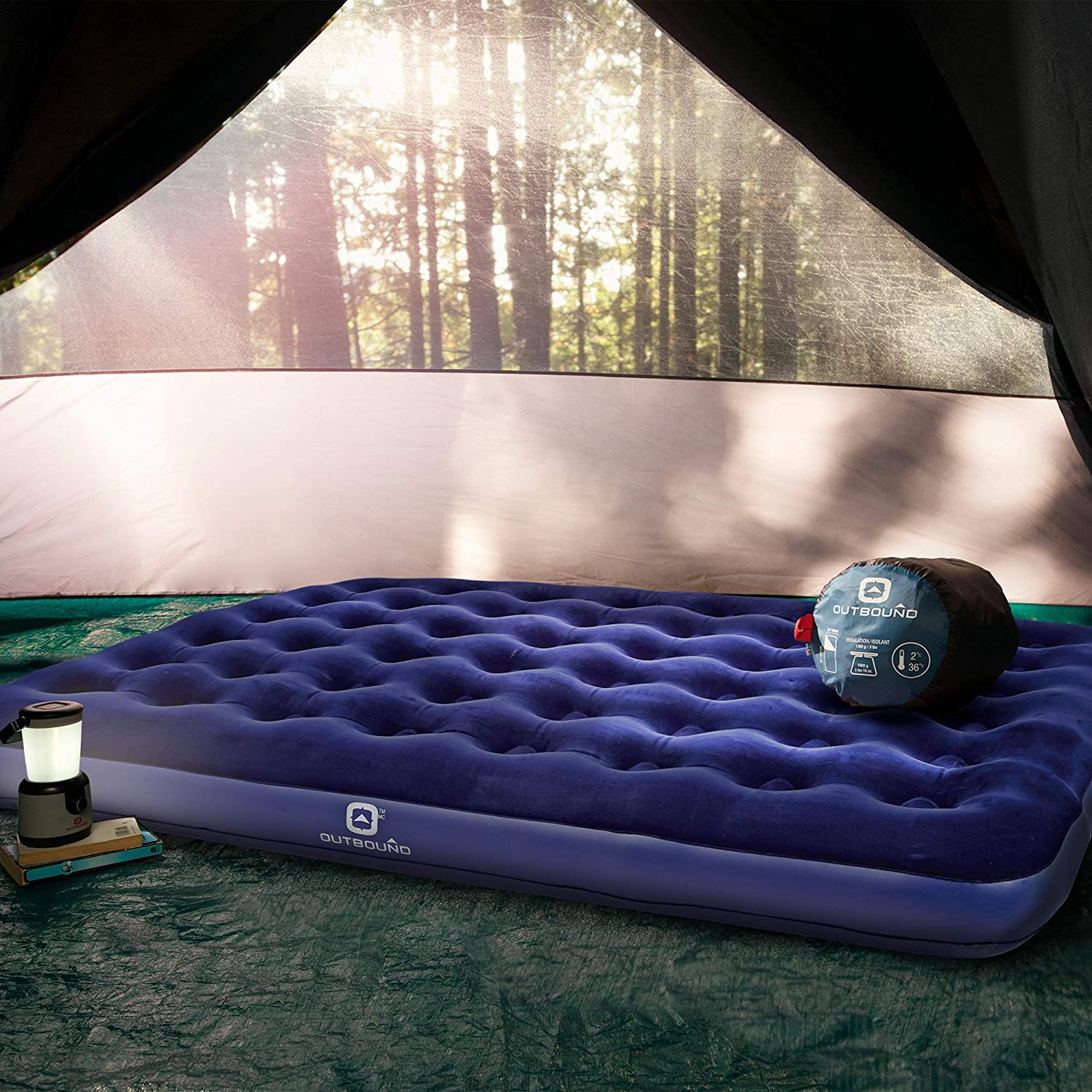 Outbound Air Mattresses Inflatable Mattress Blow Up Bed Repair Patch Portable Air-Bed for Camping Blue
