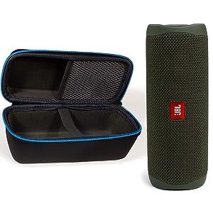 JBL Flip 5 Waterproof Portable Wireless Bluetooth Speaker Bundle with divvi! Protective Hardshell Case - Green