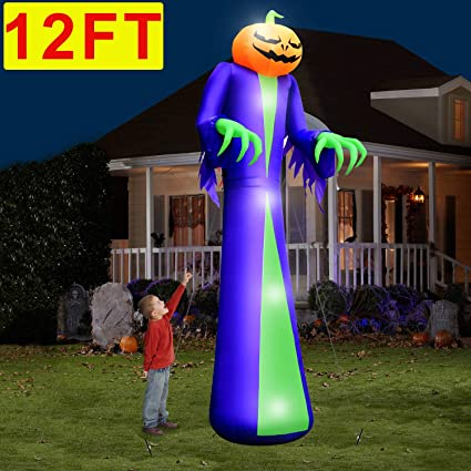 Camlinbo 12ft Halloween Inflatables Outdoor Decorations Scary Pumpkin With 4 Lights Halloween Decorations Led Pumpkin Blow Up Yard Party Trick Treat