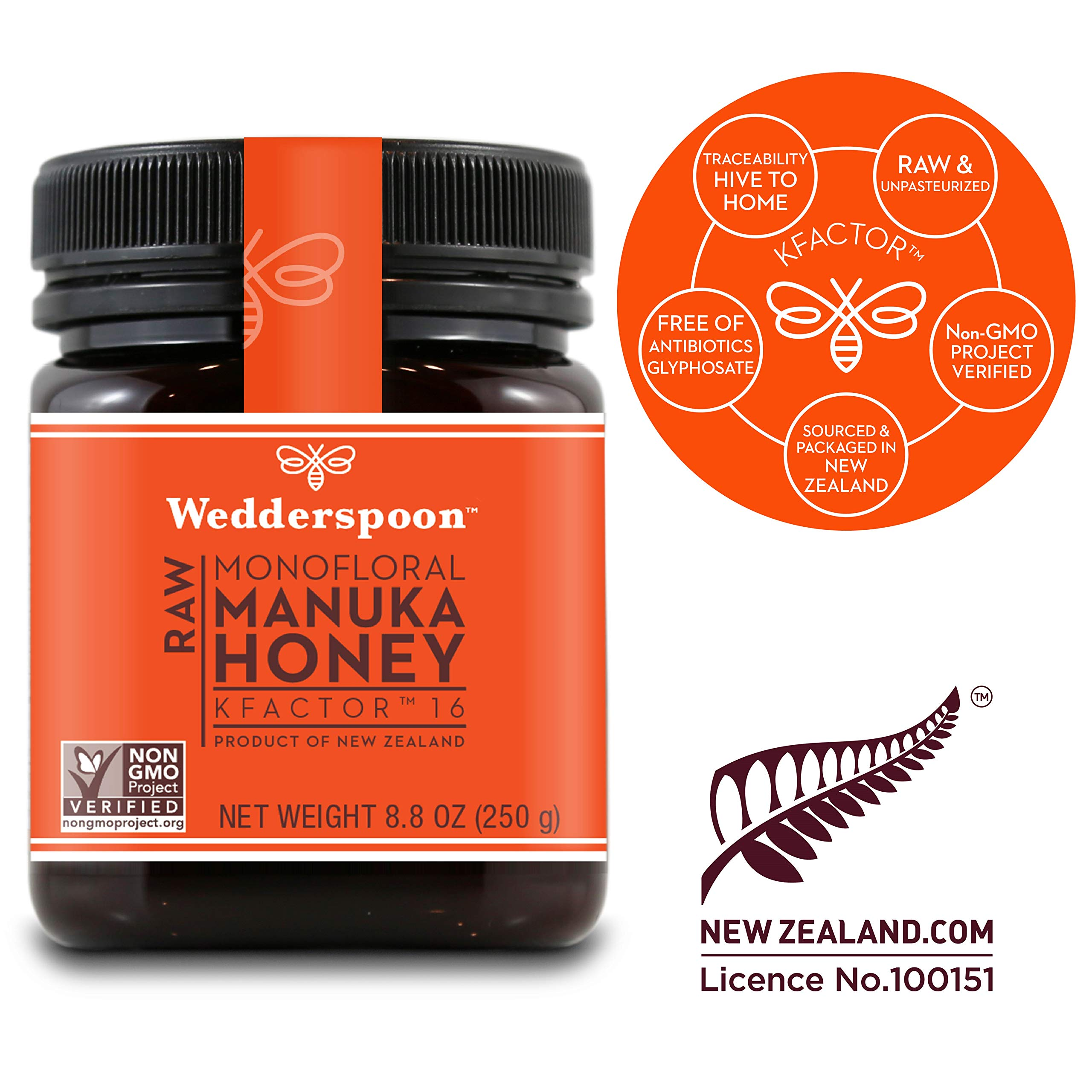 Wedderspoon Raw Premium Manuka Honey KFactor 16, 8.8 Oz, Unpasteurized, Genuine New Zealand Honey, Multi-Functional, Non-GMO Superfood by Wedderspoon (Image #1)