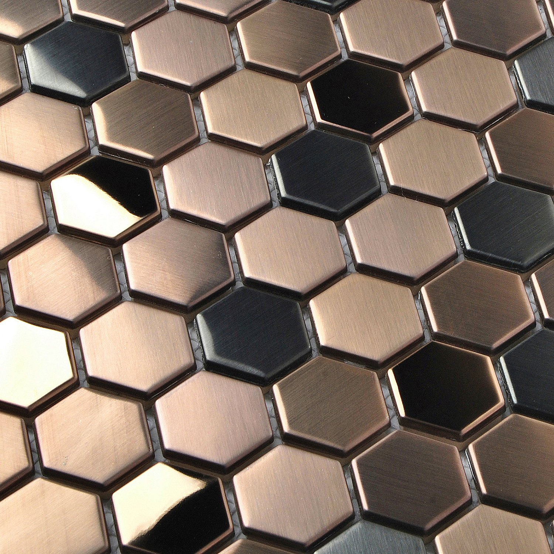 4 x 6 Hexagon Stainless Steel Brushed Mosaic Tile Bronze Copper Color Black Bathroom Shower Floor Tiles TSTMBT021 1 Sample