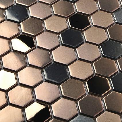 Amazon Hexagon Stainless Steel Brushed Mosaic Tile Bronze