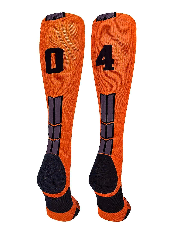 MadSportsStuff Orange/Black Player Id Custom Over The Calf Number Socks...