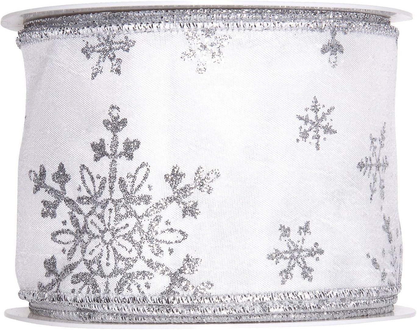 Argent Flocons de neige fil bords ruban 63 mm large 3 M Longueur