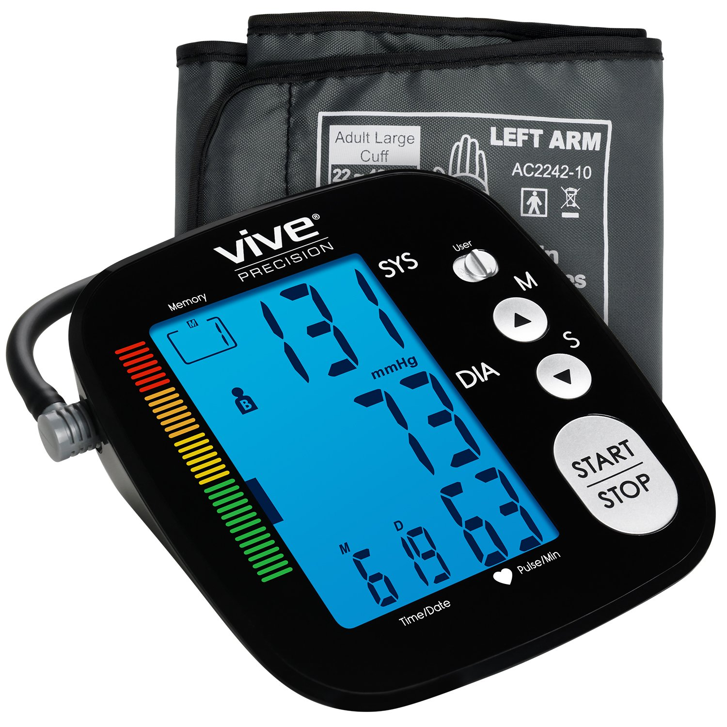 Blood Pressure Monitor by Vive Precision - Automatic Digital Upper Arm Cuff - Accurate, Portable and Perfect for Home Use - Electronic Meter Measures Pulse Rate - 1 Size Fits Most Cuff, Black