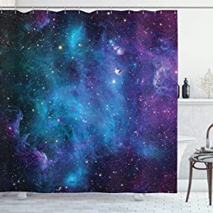 """Ambesonne Outer Space Shower Curtain, Galaxy Stars in Space Celestial Astronomic Planets in The Universe Milky Way, Cloth Fabric Bathroom Decor Set with Hooks, 70"""" Long, Navy Purple"""