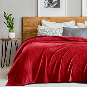 "SEDONA HOUSE Flannel Fleece Blanket 280GSM Luxury Microfiber Flannel Super Soft Warm Fuzzy Cozy Lightweight Blanket for Bed Couch or Car, Color Red Size King 90""x108"""