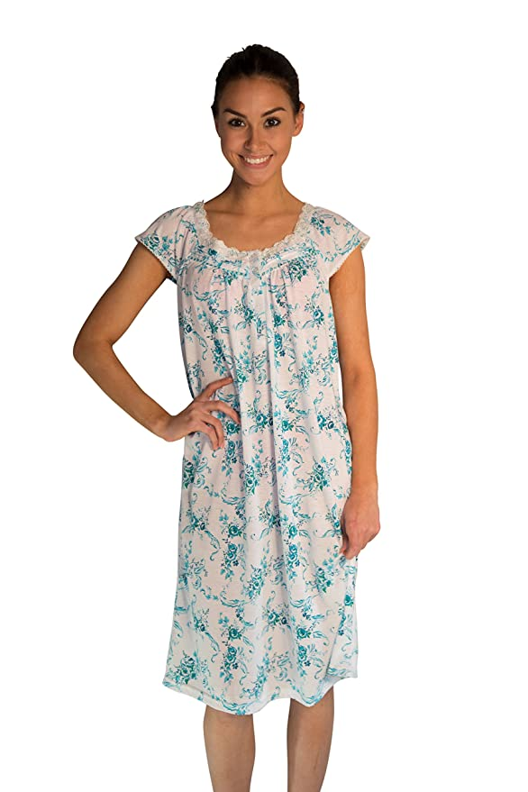 d7bdec178a37 JOTW Nightgown Sleepwear Dress with Rose-Print (0077) (Turquoise ...