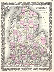 Wee Blue Coo 1855 Colton Map Michigan Vintage Unframed Wall Art Print Poster Home Decor Premium