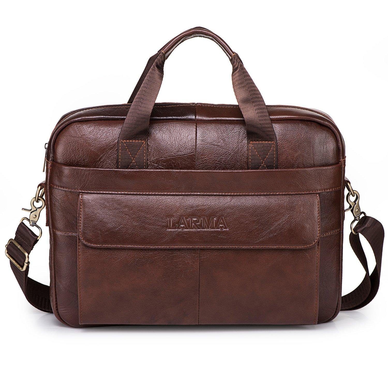 Men's Classic Top Cow Genuine Leather Business Handbag Briefcase Shoulder Messenger Satchel Bag For Laptop Macbook (Brown)