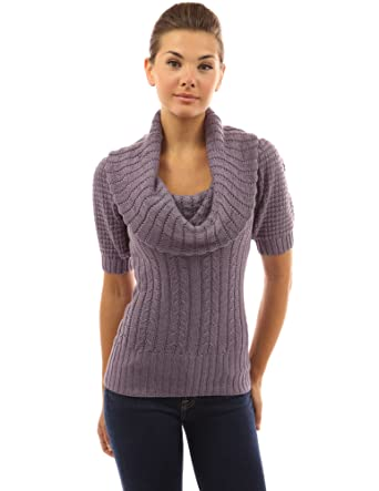 fbce90fd2ccf4 PattyBoutik Women s Cowl Neck Puff Sleeve Cable Knit Jumper (Lilac ...