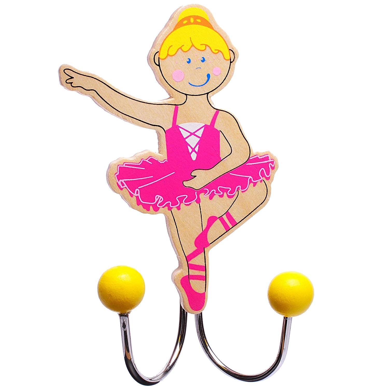 1 Stück _ Garderobenhaken - Ballerina / Tänzerin - incl. Name - aus Holz & Metall - Doppel Wandhaken / Kindergarderobe mit 2 Kleiderhaken - Kind Wandgarde..