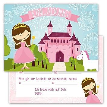 12 Lustige Einladungskarten Im Set Für Kindergeburtstag Prinzessin Party Für  Mädchen Kinder Einhorn Schloss Partyspiele Karten
