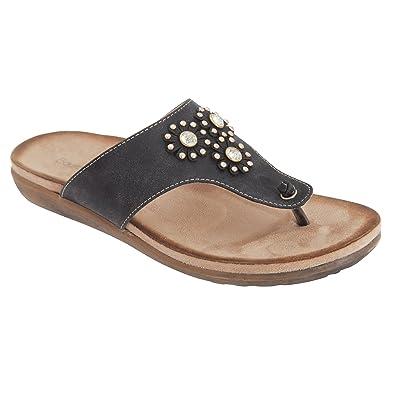 f8b28b4b9a71 Boulevard Womens Ladies Jewelled Toe Post Mule Sandals (5 UK) (Black ...