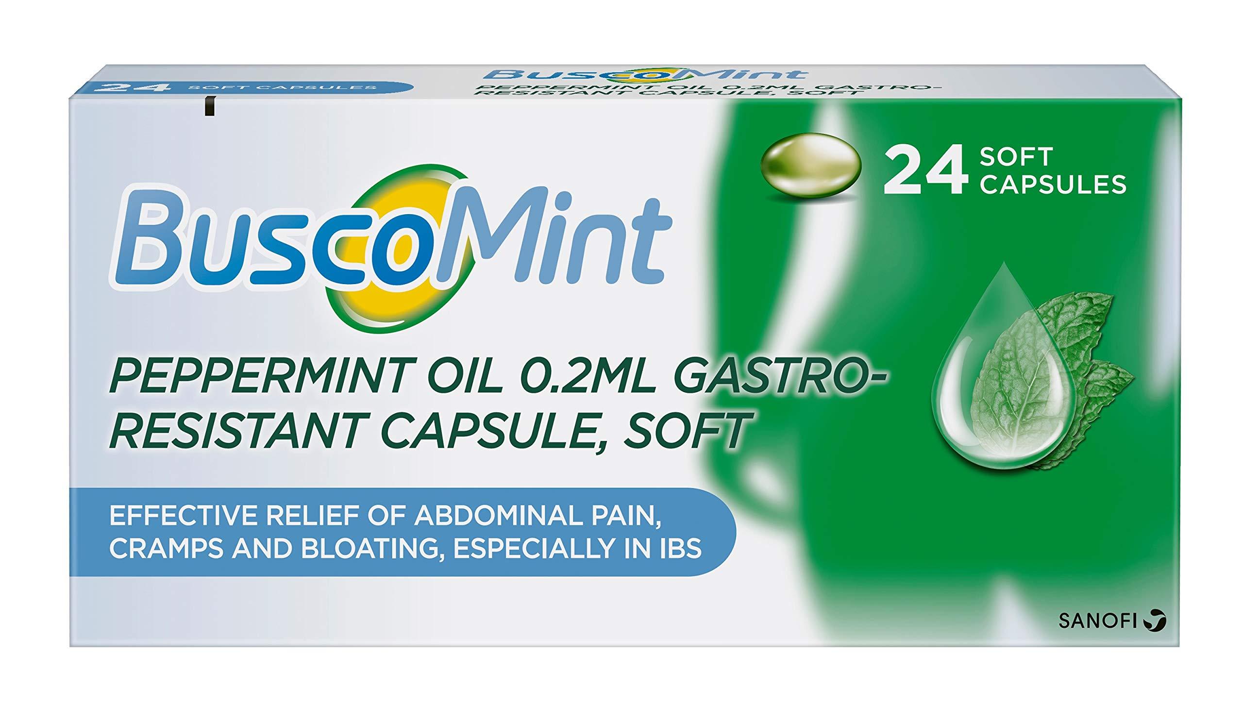 Buscopan Buscomint 0.2 ml Peppermint Oil IBS MultiSymptom Treatment, Soft Gel Capsules, 24 Count