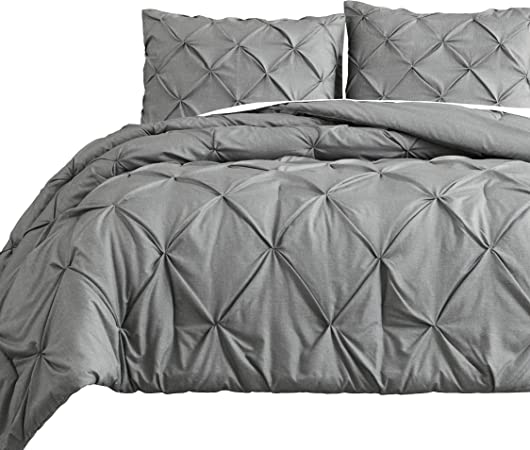 Estellar 3pc Charcoal Grey Comforter Set Pinch Pleat Bedding Cover