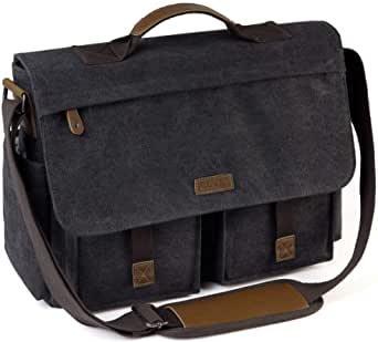Messenger Bag for Men, VASCHY Vintage Water Resistant Waxed Canvas Satchel 15.6-17 inch Laptop Briefcase Shoulder Bag with Padded Shoulder Strap