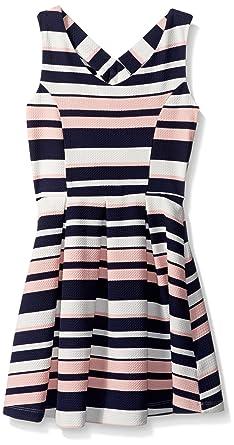 7a72e1a765ca ZUNIE Girls' Big Sleeveless Striped Textured Knit Skater Dress, Navy Blush,  ...