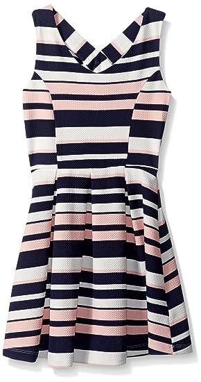 Amazon.com  ZUNIE Girls  Big Sleeveless Striped Textured Knit Skater ... edde5a1ae