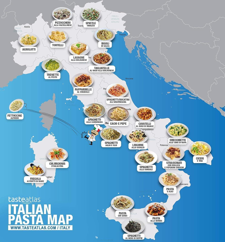 Amazon.com: Home Comforts Canvas Print Map of Italian Pasta Map ...