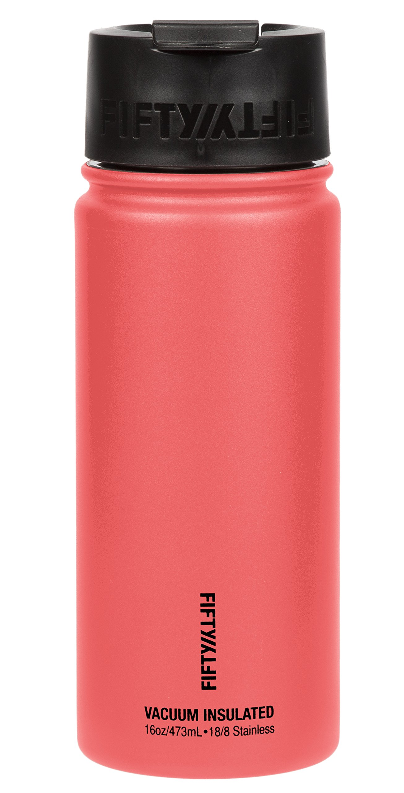 Fifty/Fifty Double Wall Vacuum Insulated 18/8 Stainless Steel, Travel Coffee Mug with Wide Mouth Flip Lid, 16 oz, Coral