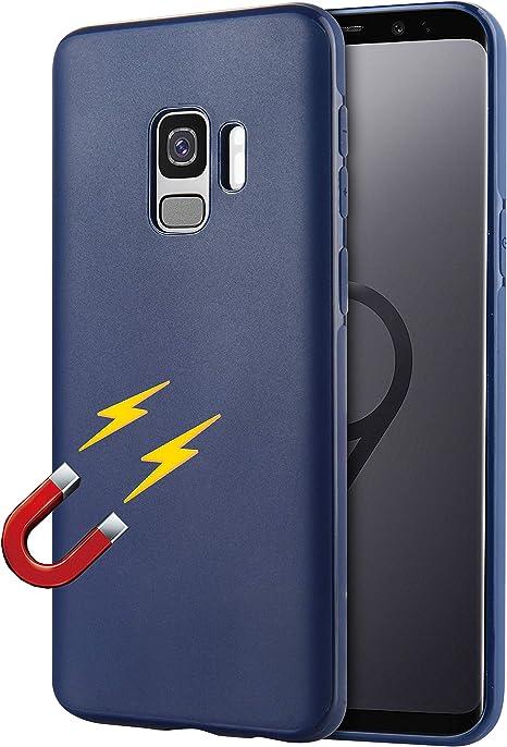 Coque Samsung S9 Support Voiture Magnétique (supporté, Non Inclus) Ultra-léger et Mince Coque TPU dechyi pour Support de Voiture magnétique Coque Bleu