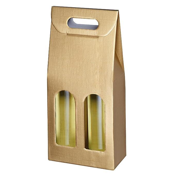 f/ür 2 Flaschen Geschenkverpackungen Struktur schwarz Wellpappe Susy Card 40000756 Tragekarton