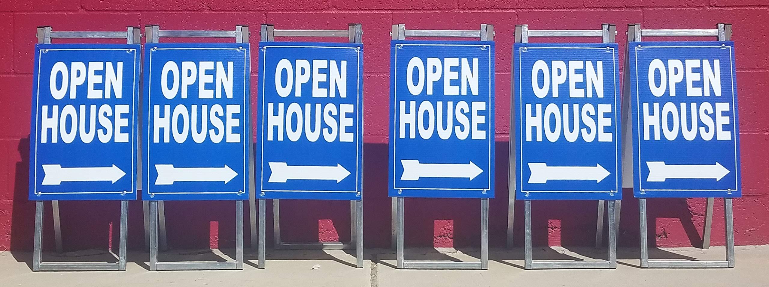 EZee Post Mini Open House Signs 6-Pack Kit Blue
