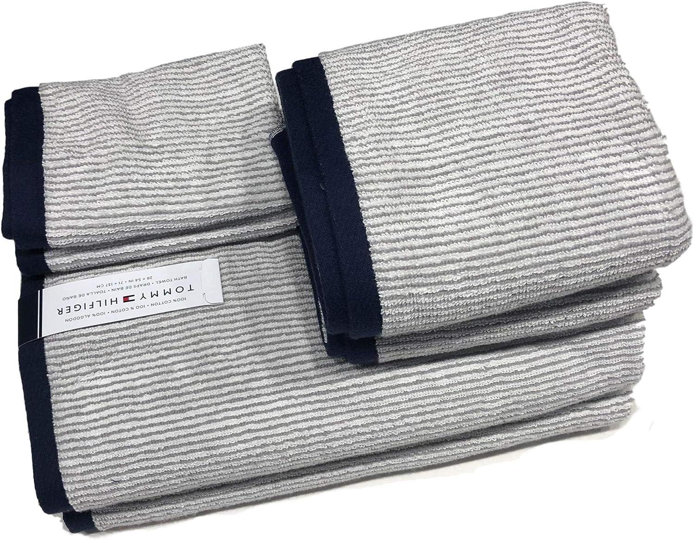 Tommy Hilfiger Classic - Juego de toallas (6 piezas, 100% algodón), diseño de rayas, color blanco, gris y azul marino: Amazon.es: Hogar