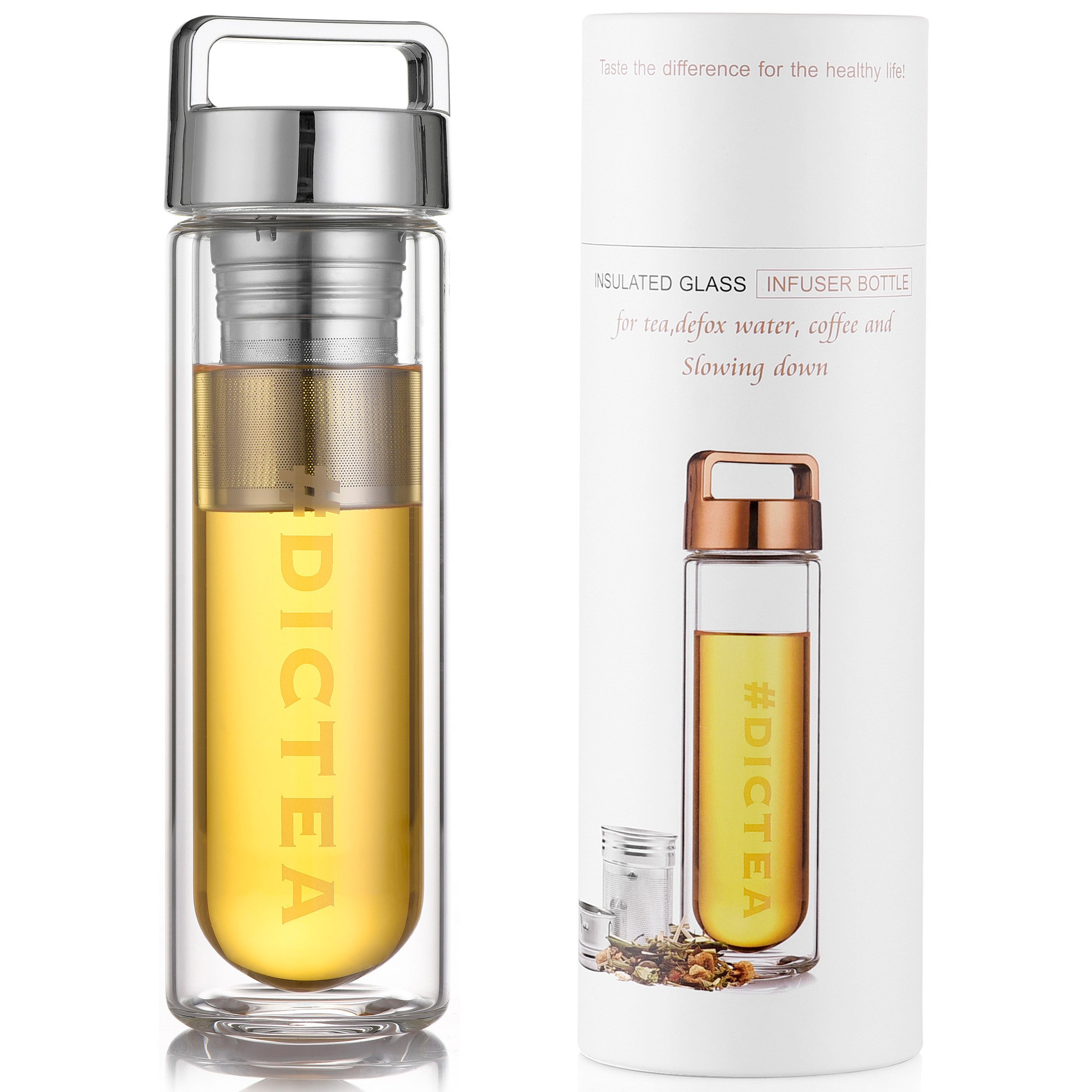 Tea Infuser Bottle For Your Favorite Loose Leaf Tea, Tea Bags, Cold Brew Coffee or Fruits - The Pefect Gift Idea For Women   Enjoy Your Favorite Drink Everywhere You Go   Beautifully Packaged