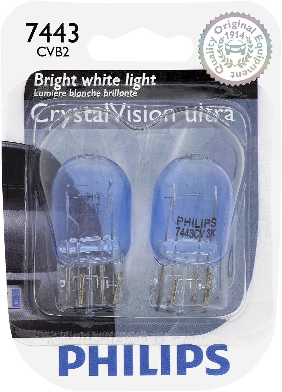 PHILIPS 7443CVB2 7443 CrystalVision Ultra Miniature Bulb, 2 Pack