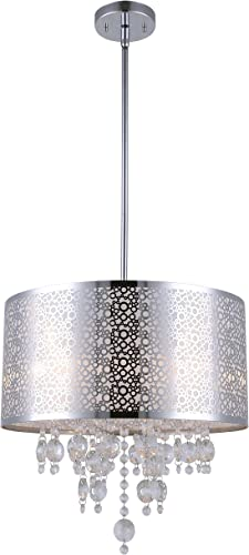 CANARM ICH543A04CH16 Piera 4-Light Chandelier with Crystal, Chrome