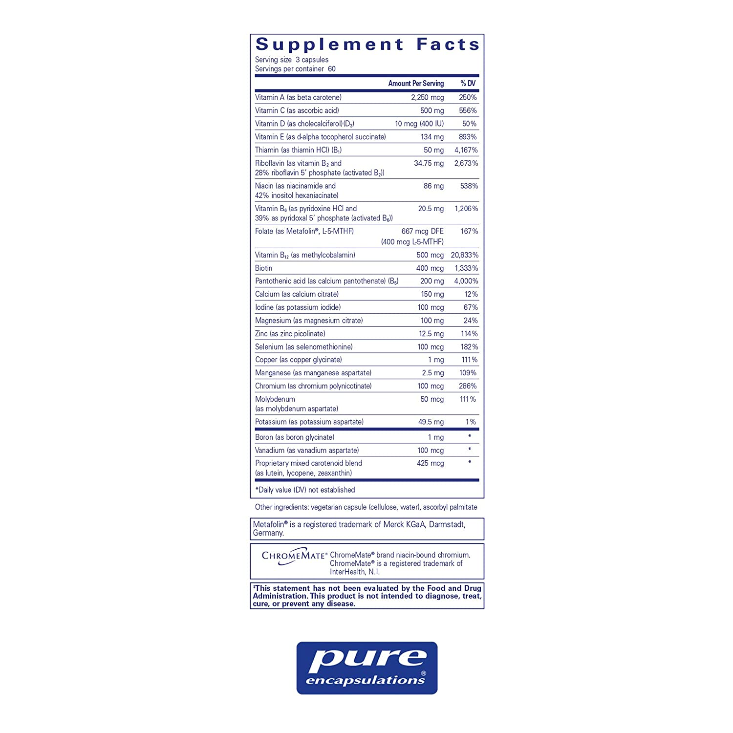 Pure Encapsulations – Nutrient 950 Without Iron – Hypoallergenic Multi-Vitamin Mineral Formula for Optimal Health* – 180 Capsules