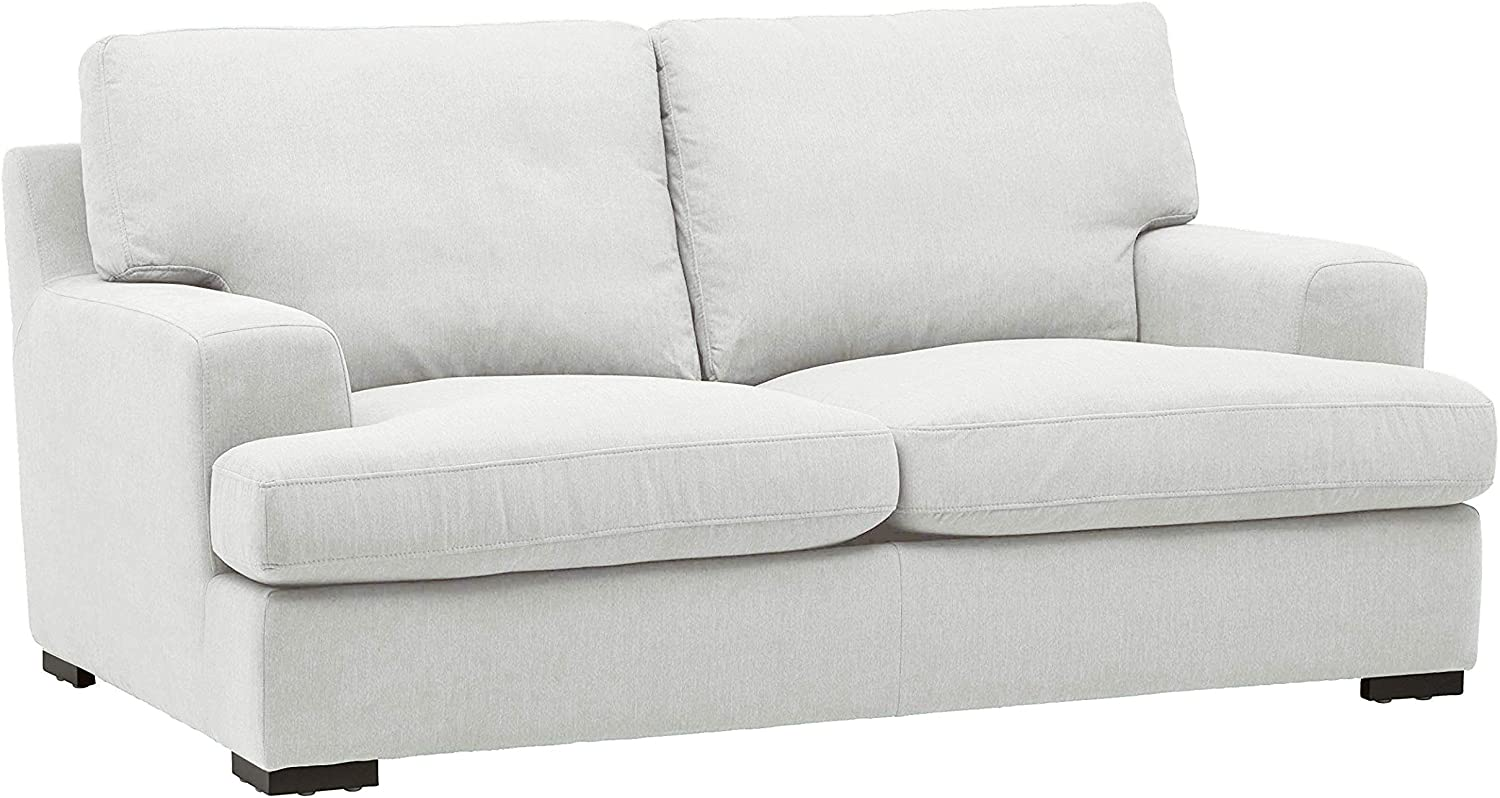 "Stone & Beam Lauren Down-Filled Oversized Loveseat with Hardwood Frame, 74""W, Pearl"
