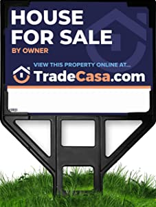 """TRADECASA House for Sale by Owner Yard Sign & Premium Sign Frame + Free Stunning Online Showcase - Extra Large 39"""" x 25.5"""" Double Sided Sign - The Evolved Real Estate Sign Solution!"""