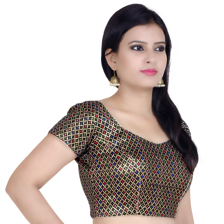 Chandrakala Women's Designer Bollywood Readymade Multi Saree Blouse Padded Brocade Choli (B106MUL3) by Chandrakala (Image #2)