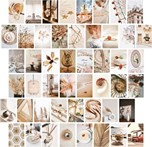 52PCS Coffee Wall Collage Kit, Room Decor for Bedroom Aesthetic, Boho Posters for Room Aesthetic, Brown Photo Wall Decor for Girls Teen Women, VSCO Pictures for Dorm Room Decor, 4x6 Inches