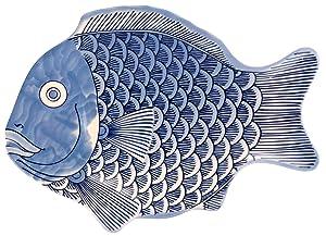 G.E.T. Enterprises Blue 10 Fish Shape Serving Platter, Break Resistant Dishwasher Safe Melamine Plastic, Creative Table Collection 370-10-BL (Pack of 12)