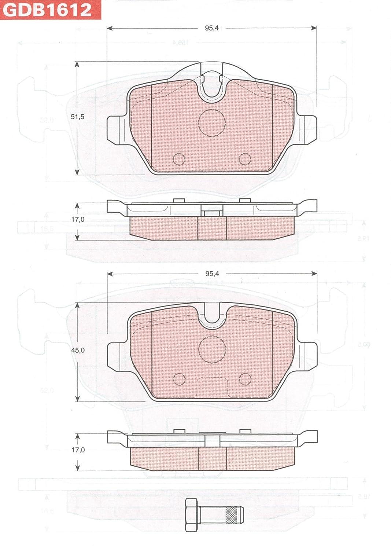 Scheibenbremse 4-teilig TRW GDB1612 Bremsbelagsatz