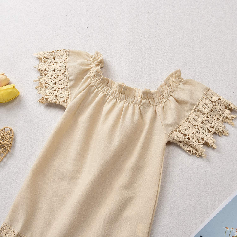 Newborn Toddler Baby Girls Lace Boho Linen Dress Off Shoulder Casual Sundress