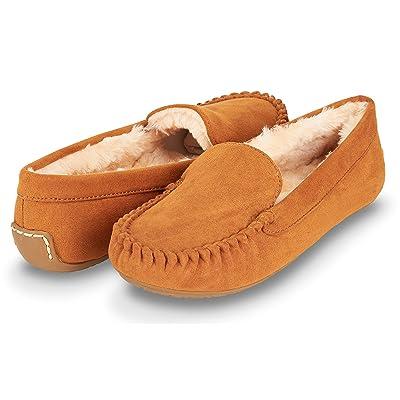 Floopi Womens Indoor/Outdoor Basic Memory Foam Faux Fur Moccasin Slipper   Slippers