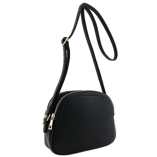 Double Zip Half Moon Crossbody Bag (Black)  Handbags  Amazon.com