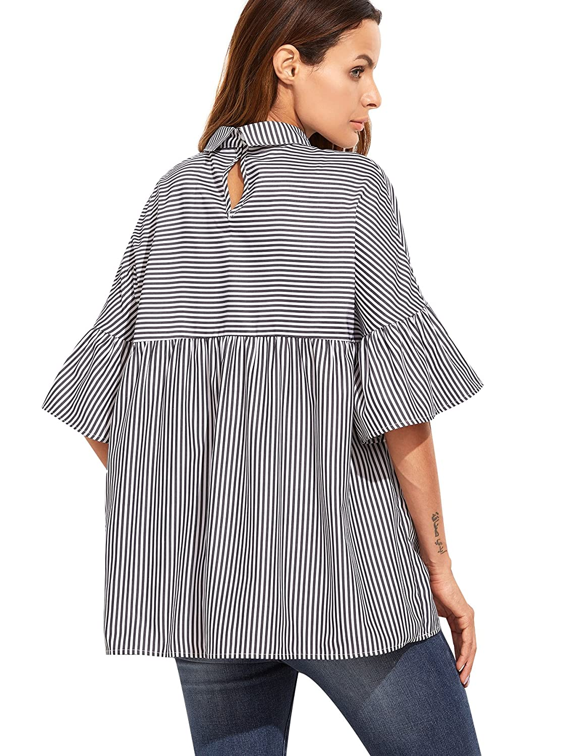 9bf60445fad SheIn Women s Oversized Striped Ruffle Half Sleeve Collared Blouse at  Amazon Women s Clothing store