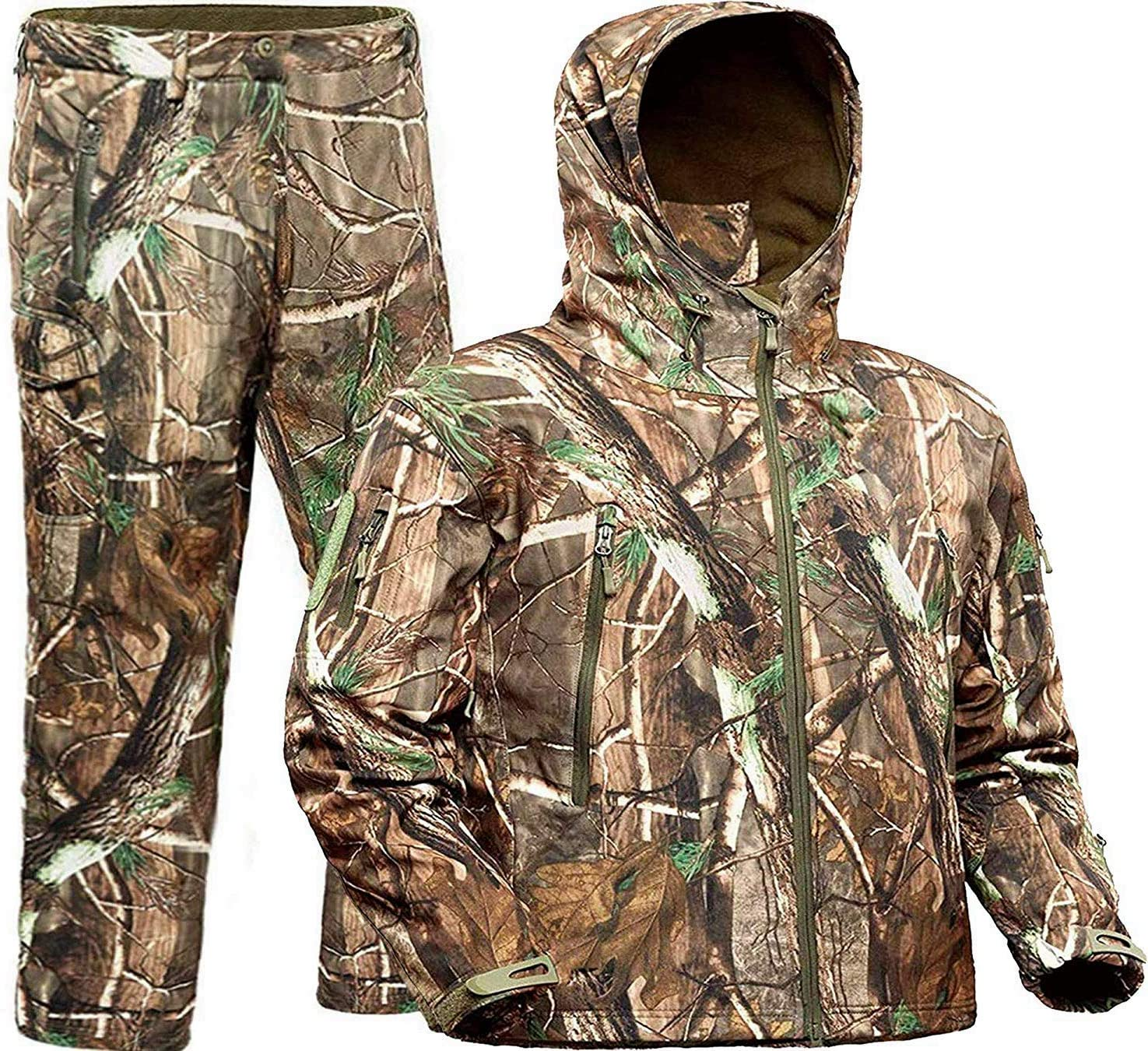 ADAFAZ Hunting Jackets & Pants Water Resistant Hunting Suit Camouflage Hoodie Windproof Real-Tree Camo Coat for Hunters Hunting