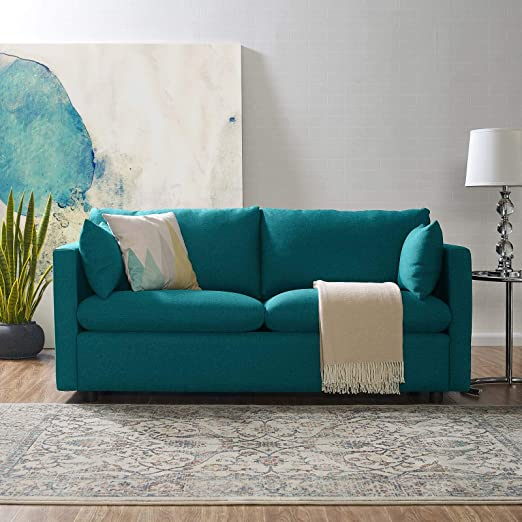 Amazon.com: Modway Activate Contemporary Modern Fabric Upholstered Apartment Sofa Couch In Teal: Furniture & Decor