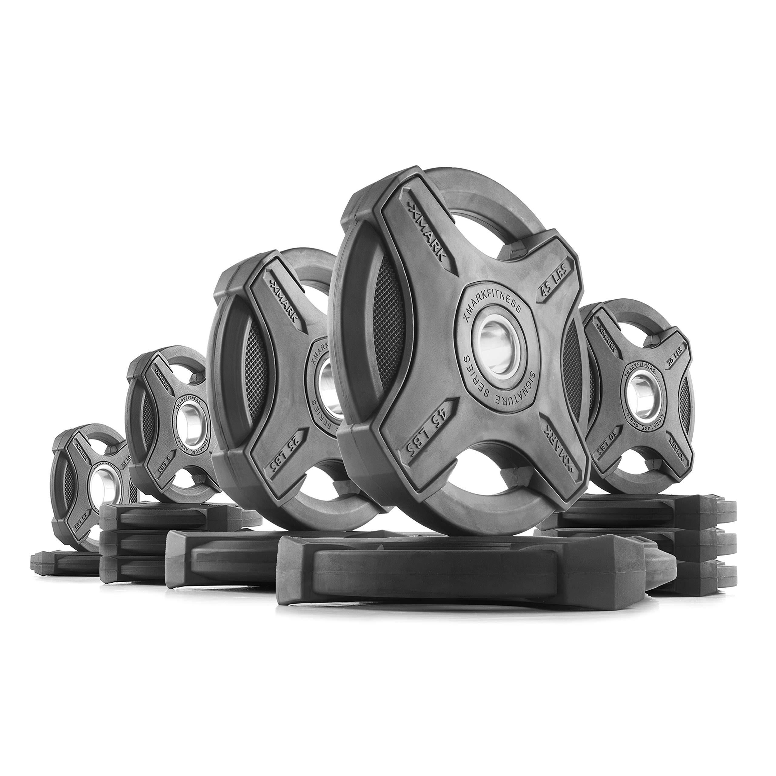 XMark 235 lb Set Signature Plates, One-Year Warranty, Olympic Weight Plates, Cutting-Edge Design