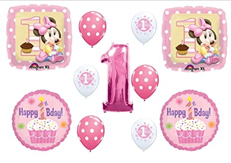 Image Unavailable Not Available For Color BABY MINNIE MOUSE CUPCAKE 1ST First BIRTHDAY PARTY Balloons Decorations Supplies