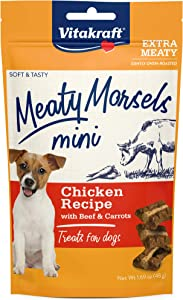 Vitakraft Meaty Morsels Mini Chicken Recipe Treats for Dogs, Extra Meaty, Gently Oven-Roasted, Soft and Tasty