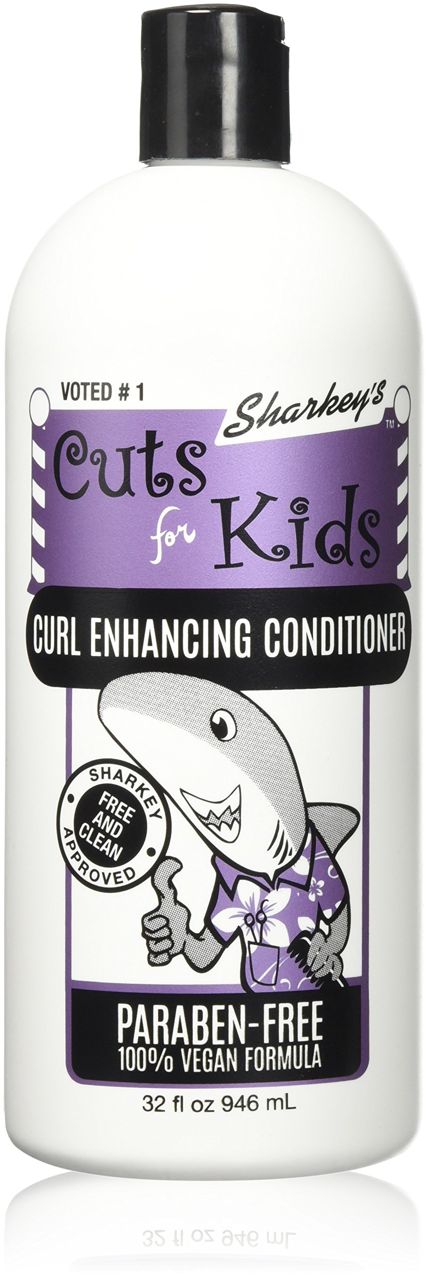 Sharkey's FREE & CLEAN Line Just for Kids, Curl Enhancing Conditioner, PARABEN-FREE, Large, 32oz