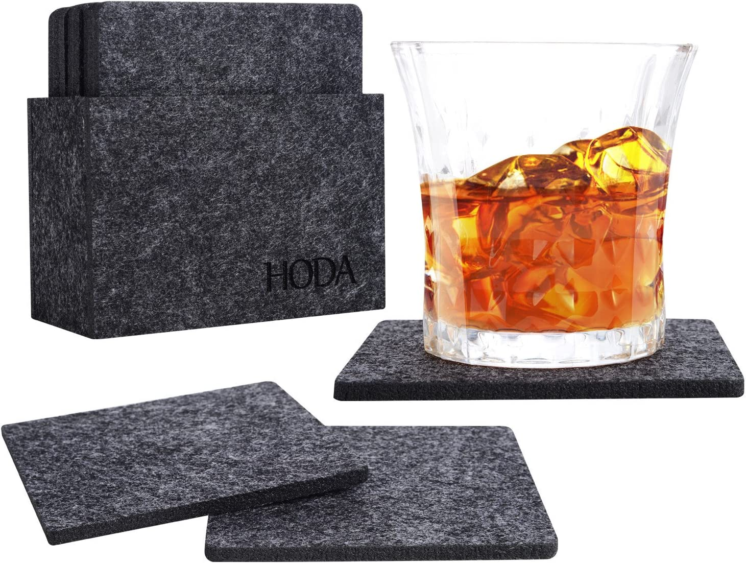 HODA Coasters for Drinks Absorbent Felt Coasters with Holder The Best Coaster Gift Set of 10 - Square